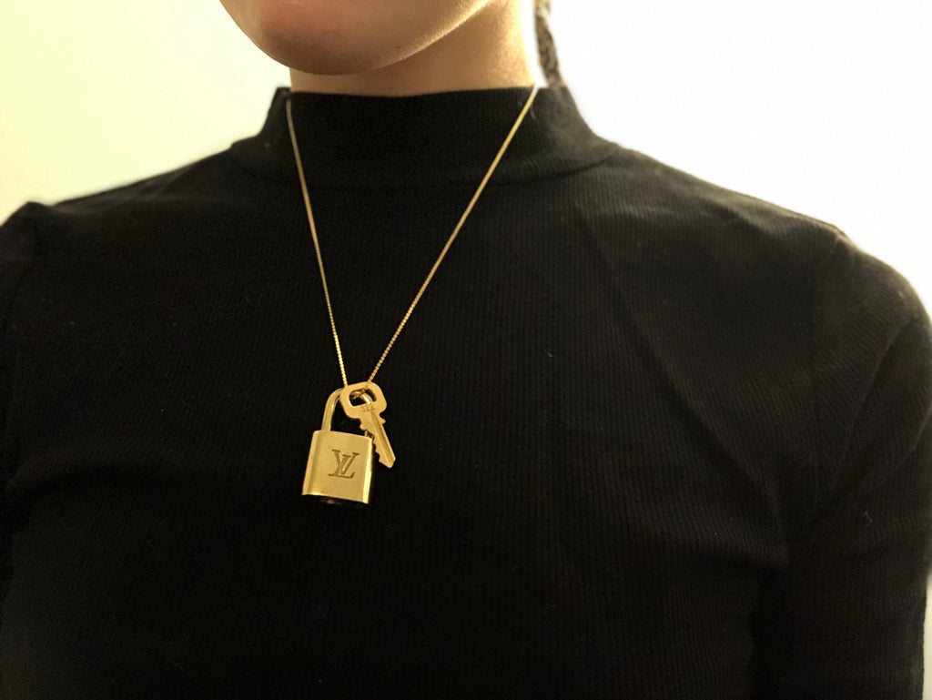 Upcycled LV Padlock Necklace