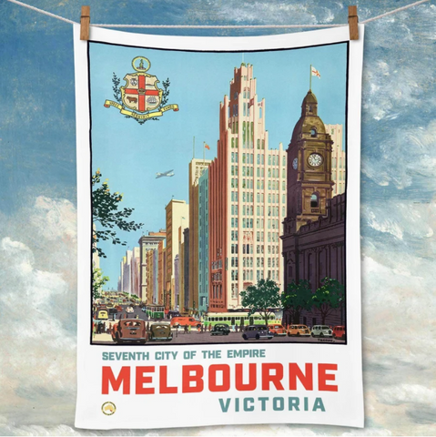 Tea Towel La Brocante Melbourne 1940 CBD