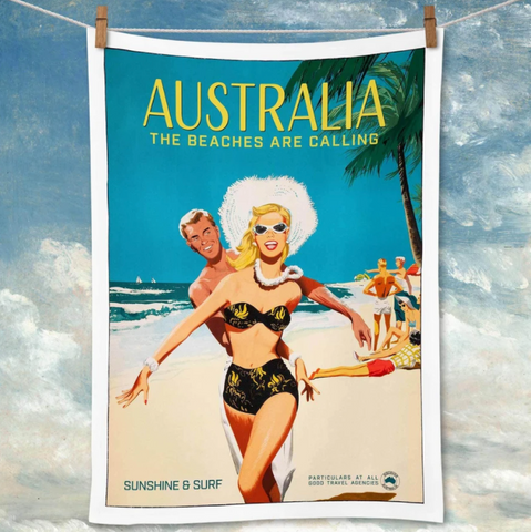 Tea Towel La Brocante Australia The Beaches Are Calling