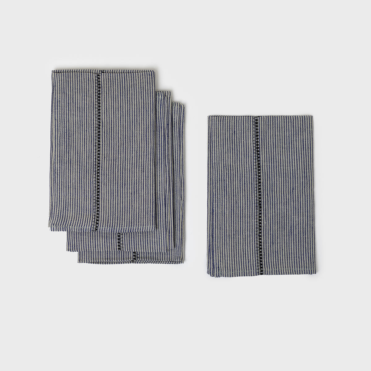 Load image into Gallery viewer, Linen Stitch Chambray Stripe Napkins
