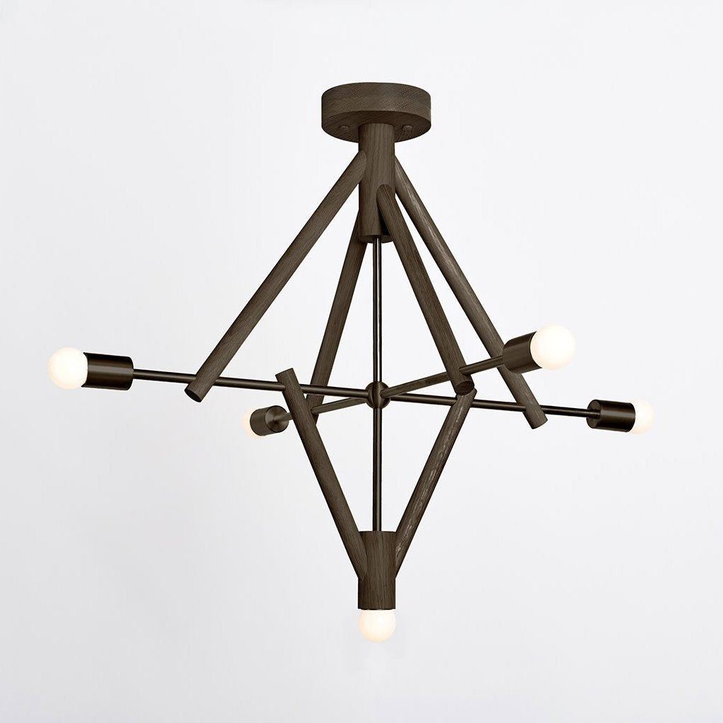 Lodge Chandelier V in Oxidized Oak