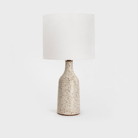 Speckled Matte White Bottle Lamps by Victoria Morris