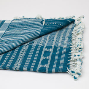 Kutch Horizon Indigo Silk Wool Throw