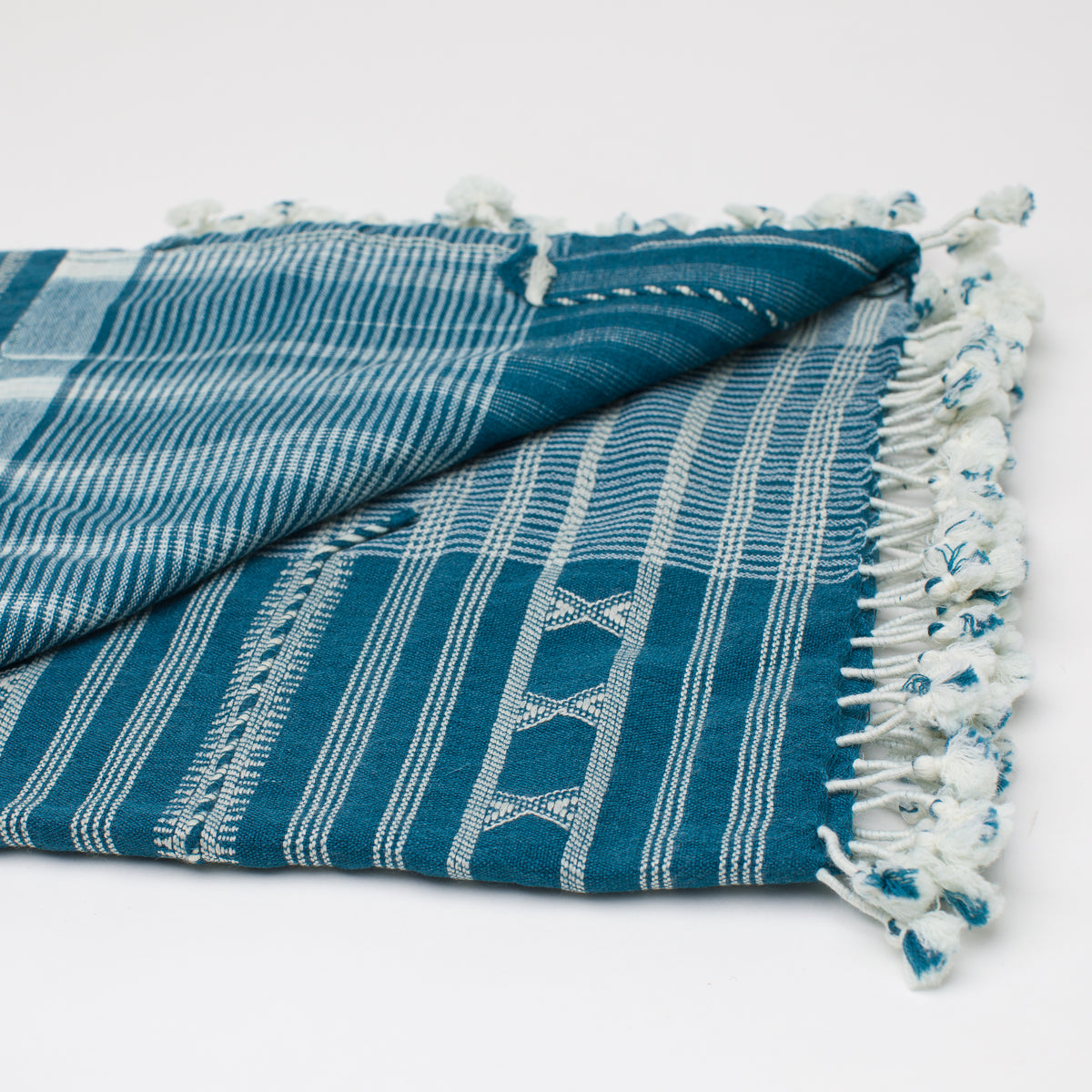 Load image into Gallery viewer, Kutch Horizon Indigo Silk Wool Throw - Blankets – Shoppe Amber Interiors
