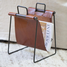 Load image into Gallery viewer, Leather & Iron Sling Magazine Rack - Home Accessories - Misc – Shoppe Amber Interiors