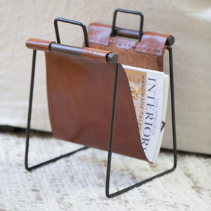 Leather & Iron Sling Magazine Rack - Home Accessories - Misc – Shoppe Amber Interiors