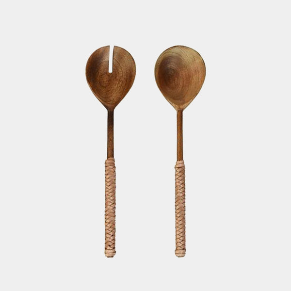 Burke Salad Servers Natural Leather