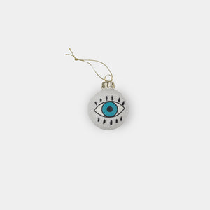 Blue Eye Ornament White