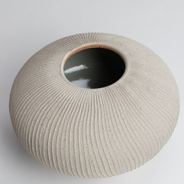 Fluted Vessel 01 Stone Medium