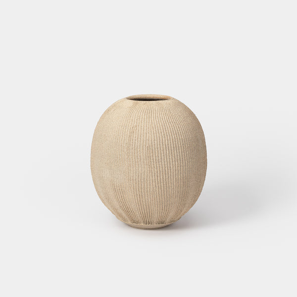 Fluted Vessel 02 Sand Stone Large