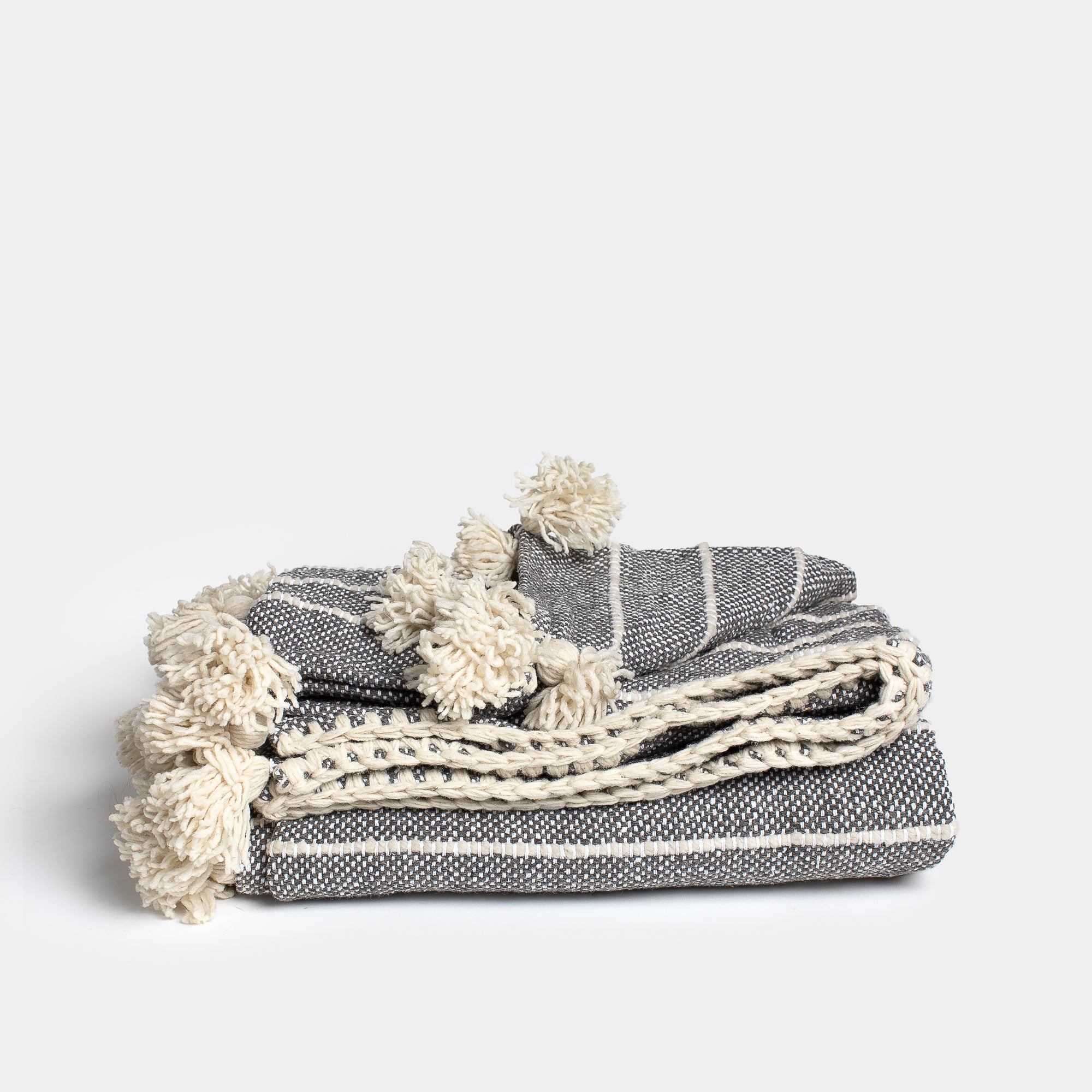 Wool Blanket Grey & White Stripes With Tassels