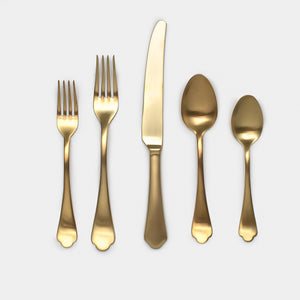 Vita Flatware - Set of 5 Gold - Kitchen & Dining - Flatware – Shoppe Amber Interiors