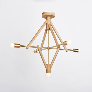 Lodge Chandelier V in Natural Oak