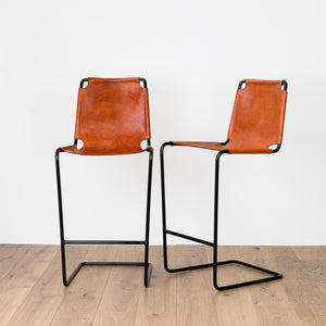 Leather and Iron Bar Stool - Furniture - Designer - Seating – Shoppe Amber Interiors