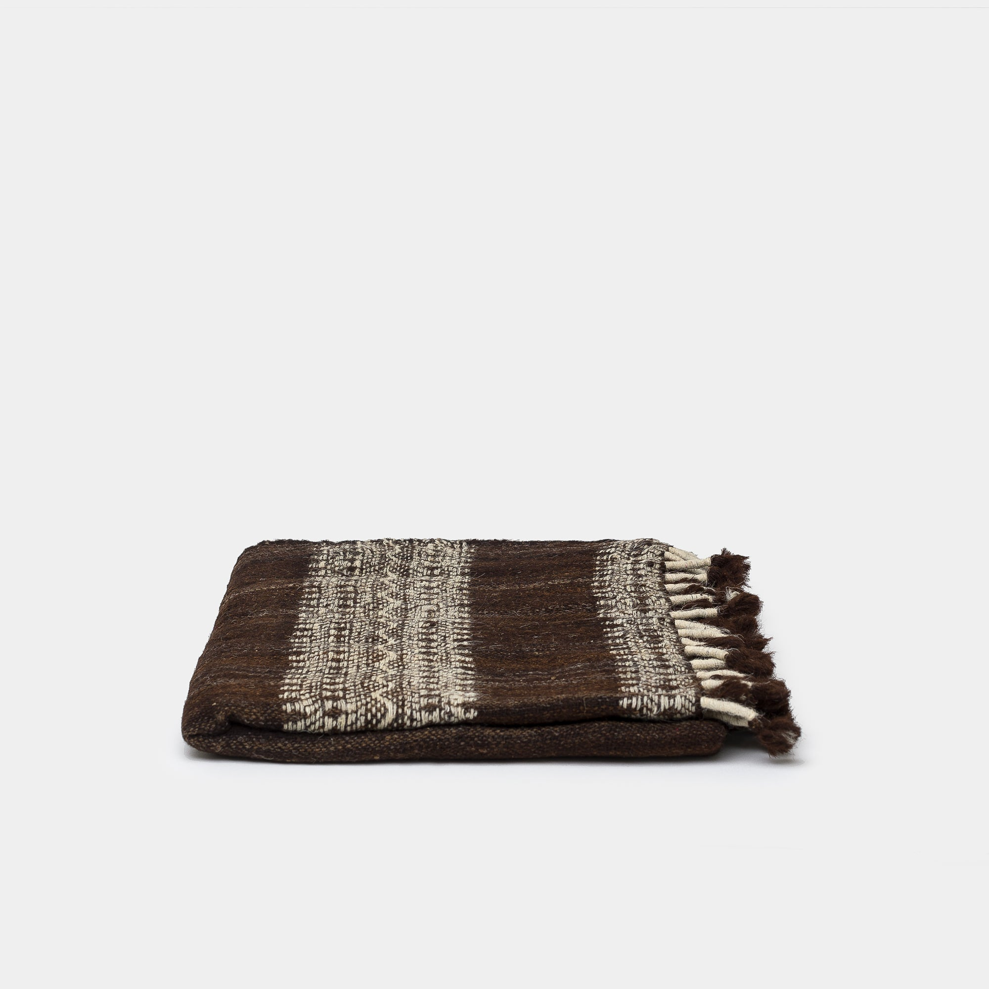 Vankar Woven Throw Espresso with Ivory Edge