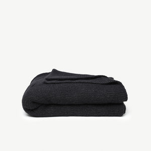 Sur Cable Knit Throw Black
