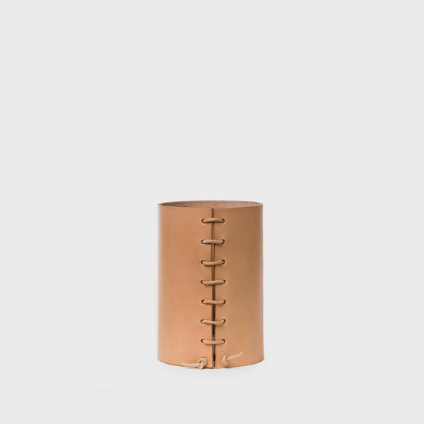 Leather Wrapped Vase in Natural