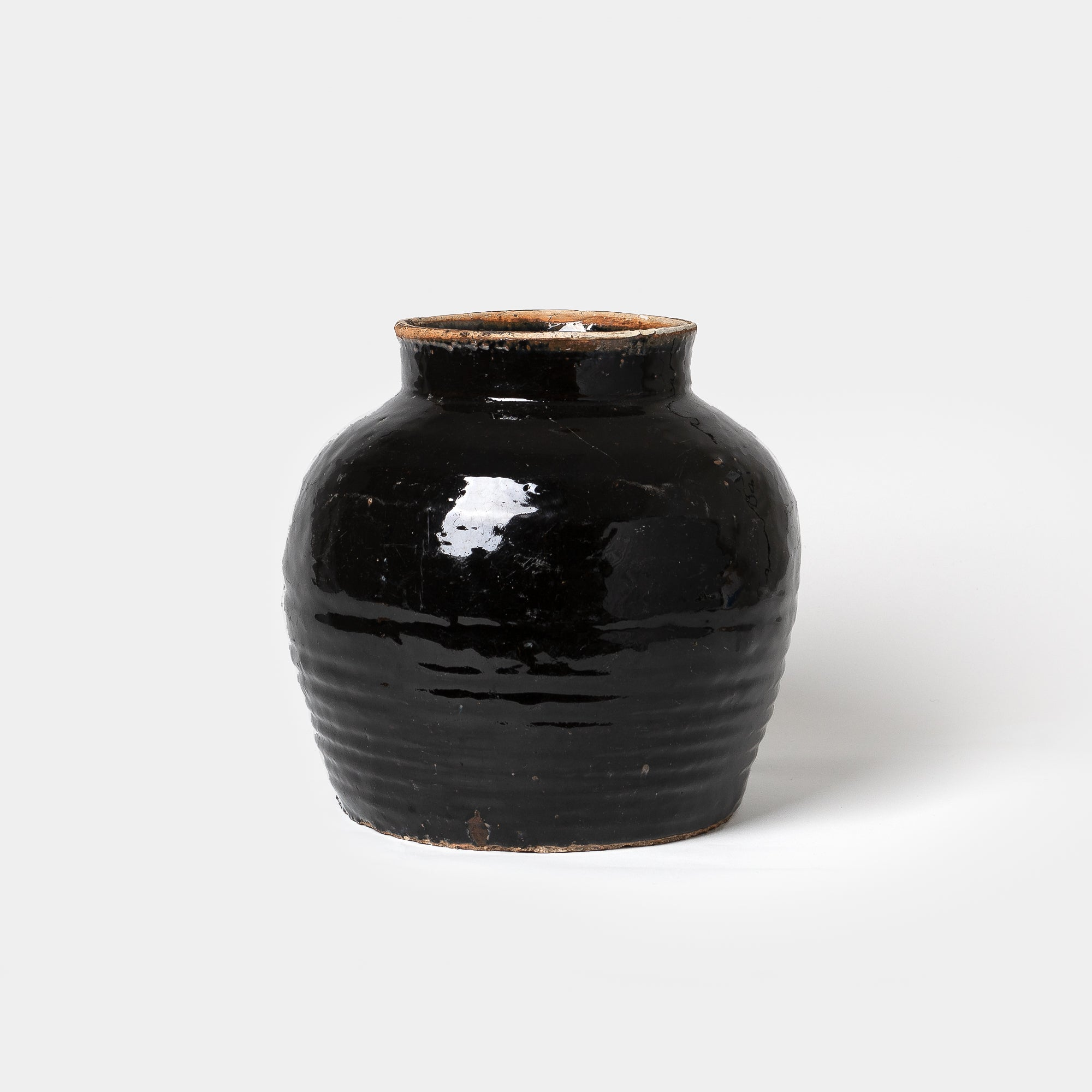 Ribbed Black Jar