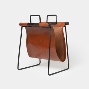 Leather & Iron Sling Magazine Rack