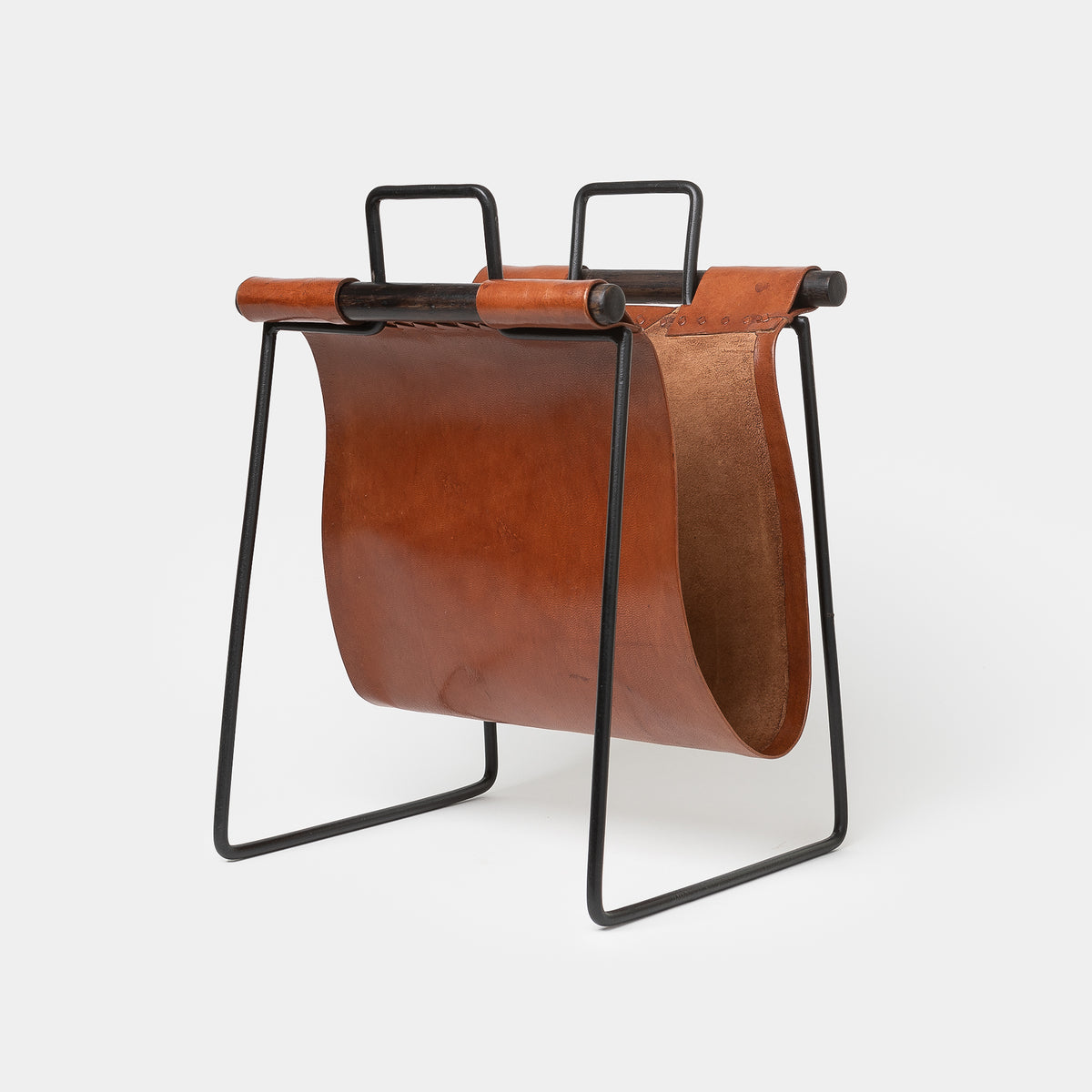 Load image into Gallery viewer, Leather & Iron Sling Magazine Rack