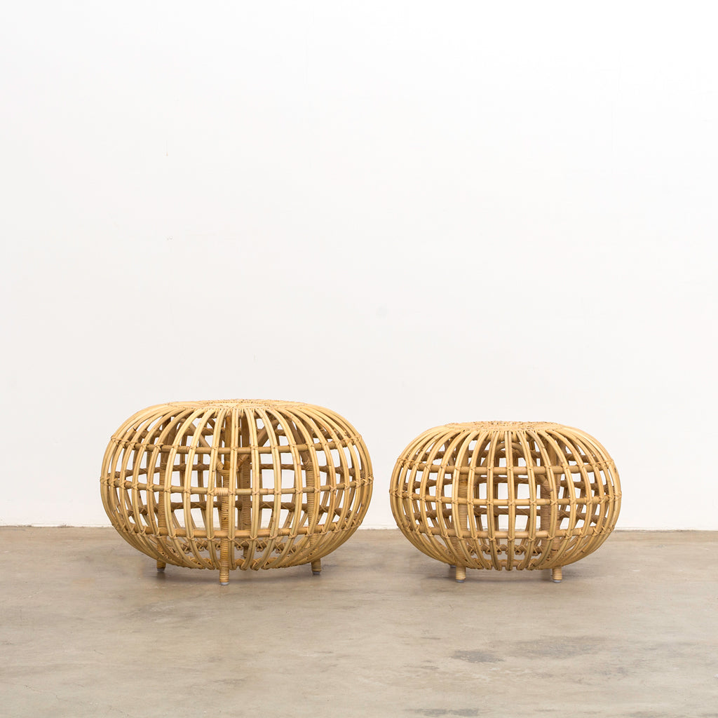 Franco Albini Rattan Ottoman - Furniture – Shoppe Amber Interiors