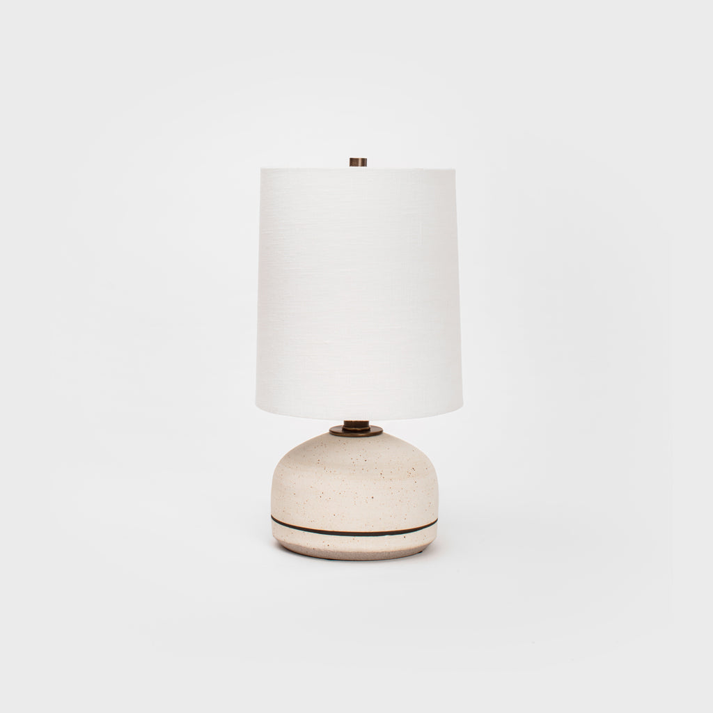 Matte Speckled White with Brown Stripe Mini Lamp by Victoria Morris