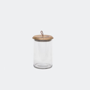 Mango Wood & Glass Lidded Jar Small -  – Shoppe Amber Interiors