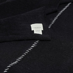 Monterey Knit Throw Black with Oatmeal Stitch