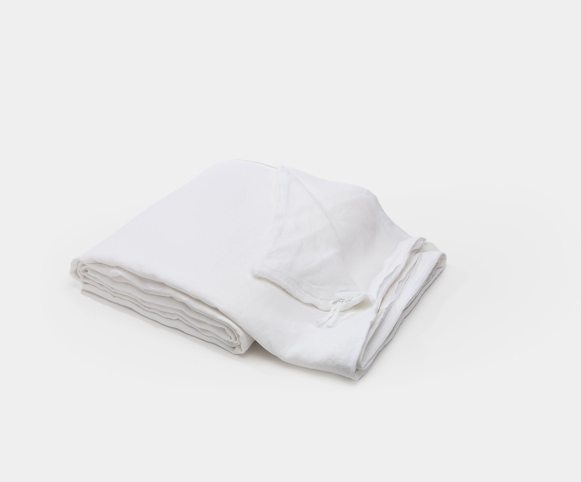 Washed Sateen Duvet Cover White - Queen