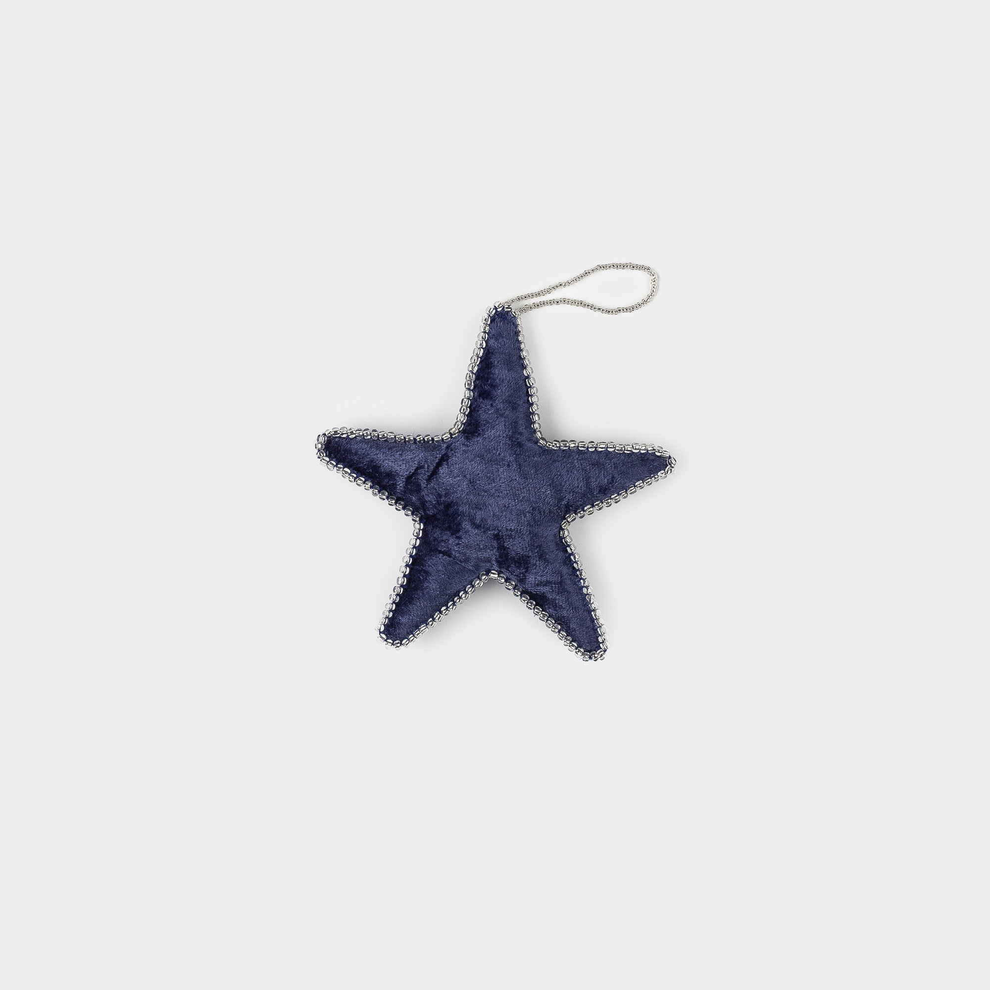Velvet Star Ornament Blue Small