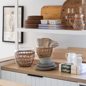 Rattan Cage Salad Bowl beautifully displayed in Shoppe Amber Interiors