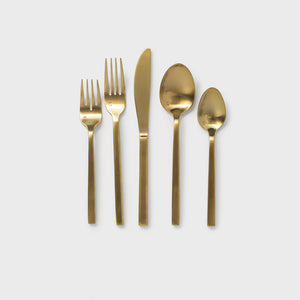 Arezzo Brushed Flatware in Gold - Flatware – Shoppe Amber Interiors