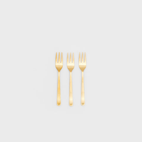 Oslo Matte Gold Cocktail Fork Set