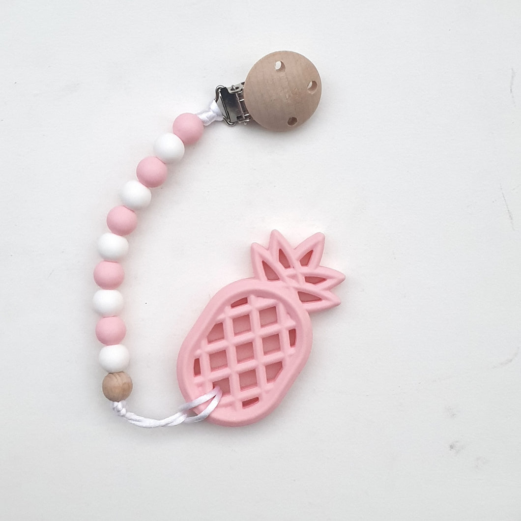 POPSICLE Pink Pineapple Teether with Pacifier Clip