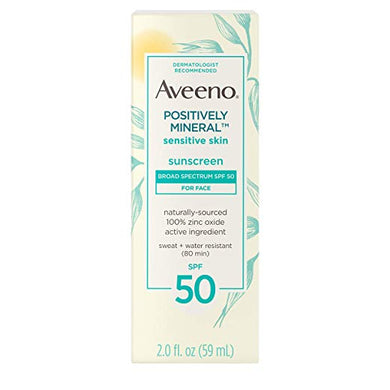 Aveeno Positively Mineral Sensitive Skin Daily Sunscreen Face Lotion SPF50 2 oz