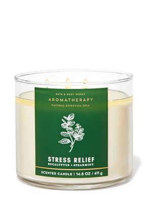 Bath and Body Works Aromatherapy Stress Relief Eucalyptus Spearmint 3-Wick Candle