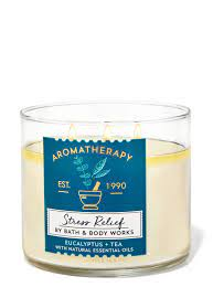 Bath and Body Works Aromatherapy Stress Relief Eucalyptus Tea 3-Wick Candle