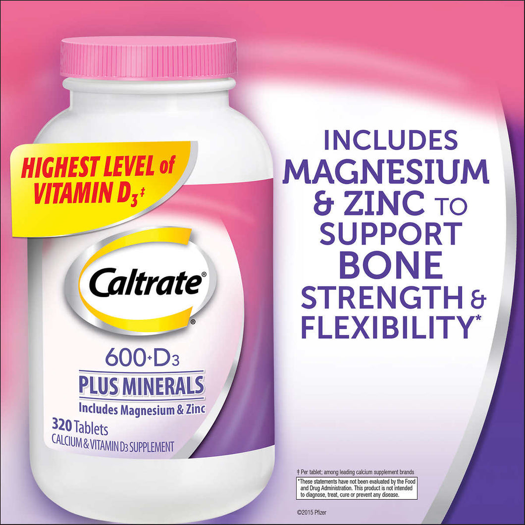 Caltrate 600+D3 Plus Minerals, 320 Tablets
