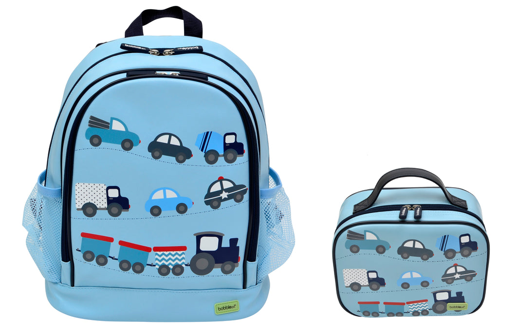 Bobble Art Bundle of Small Backpack and Small Lunch Bag - Cars