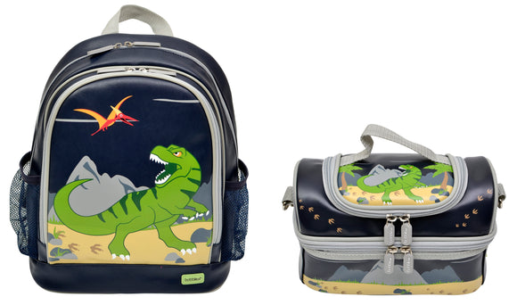 Bobble Art Bundle of Large Backpack and Large Lunch Bag - Dinosaur
