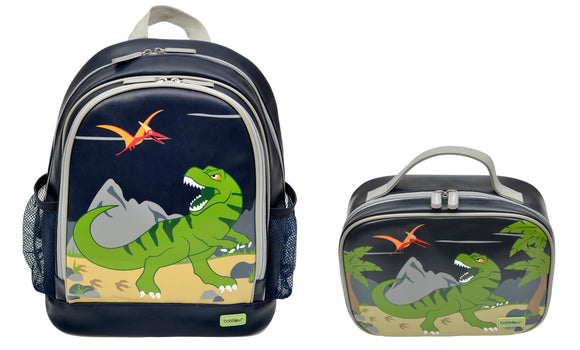 Bobble Art Bundle of Small Backpack and Small Lunch Bag - Dinosaur