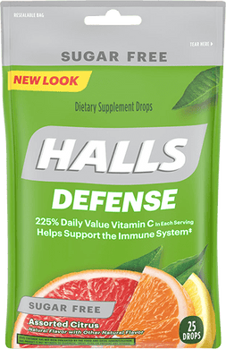 HALLS Defense Assorted Citrus Sugar Free Vitamin C Drops 25 Drops