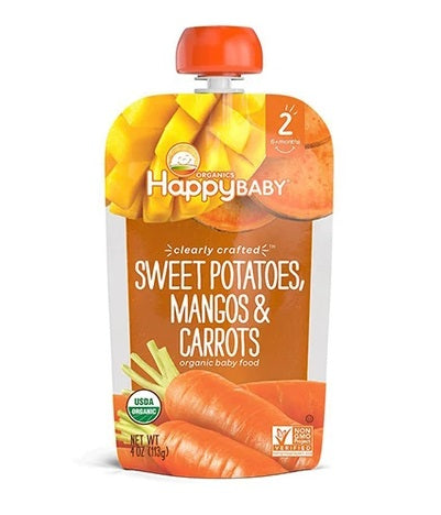 Happy Baby Clearly Crafted Sweet Potatoes, Mangos, Carrots 4 oz