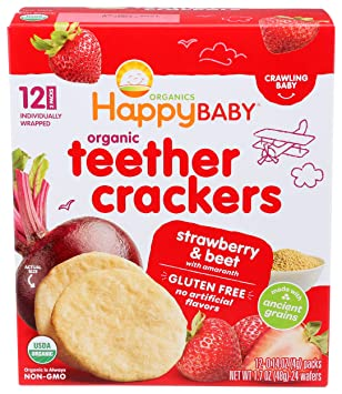 Happy Baby Organic Gentle Teether Crackers - Strawberry and Beet