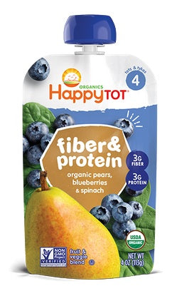 Happy Tot Organic Stage 4 Fiber and Protein Pears Blueberries and Spinach