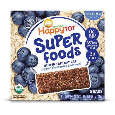 Happy Tot Organic Soft-Baked Oat Bars Toddler Snack Blueberries and Oatmeal 5-pack