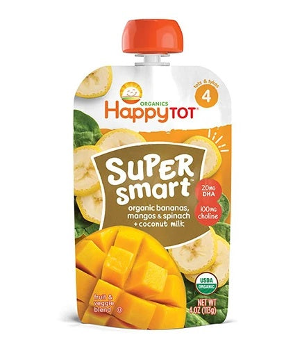 Happy Tot Organic Stage 4 Super Smart Bananas, Mangos & Spinach + Coconut Milk