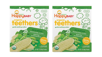 Happy Baby Organic Gentle Teething Wafer Bundle of  2 Pea & Spinach