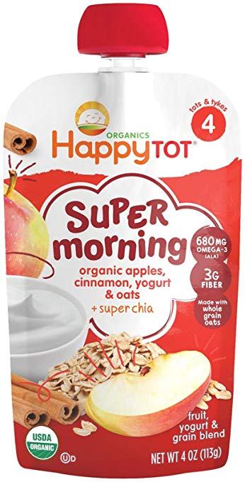 Happy Tot Organic Stage 4 Super Morning Organic Apples, Cinnamon, Yogurt & Oats + Super Chia
