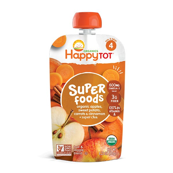 Happy Tot Organic Super Foods Apples, Sweet Potatoes, Carrots & Cinnamon + Super Chia